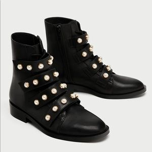 Famous Zara pearl leather ankle boots